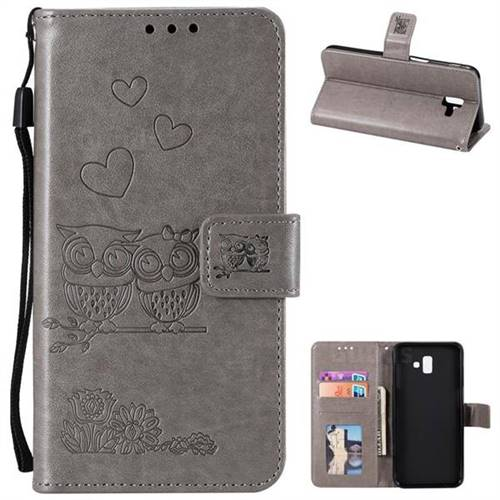 Embossing Owl Couple Flower Leather Wallet Case for Samsung Galaxy J6 Plus / J6 Prime - Gray