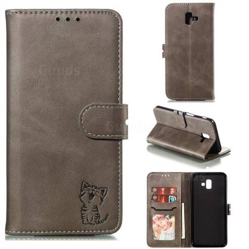 Embossing Happy Cat Leather Wallet Case for Samsung Galaxy J6 Plus / J6 Prime - Gray