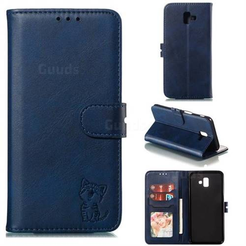 Embossing Happy Cat Leather Wallet Case for Samsung Galaxy J6 Plus / J6 Prime - Blue