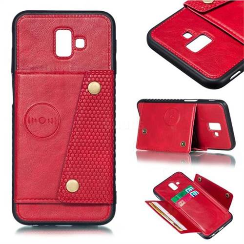 Retro Multifunction Card Slots Stand Leather Coated Phone Back Cover for Samsung Galaxy J6 Plus / J6 Prime - Red