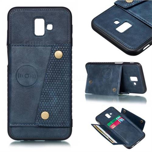Retro Multifunction Card Slots Stand Leather Coated Phone Back Cover for Samsung Galaxy J6 Plus / J6 Prime - Blue