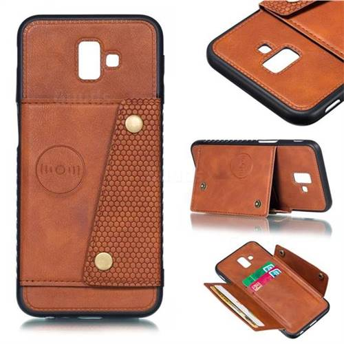 Retro Multifunction Card Slots Stand Leather Coated Phone Back Cover for Samsung Galaxy J6 Plus / J6 Prime - Brown