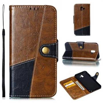 Retro Magnetic Stitching Wallet Flip Cover for Samsung Galaxy J6 Plus / J6 Prime - Brown