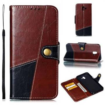 Retro Magnetic Stitching Wallet Flip Cover for Samsung Galaxy J6 Plus / J6 Prime - Dark Red