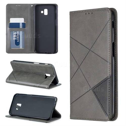 Prismatic Slim Magnetic Sucking Stitching Wallet Flip Cover for Samsung Galaxy J6 Plus / J6 Prime - Gray