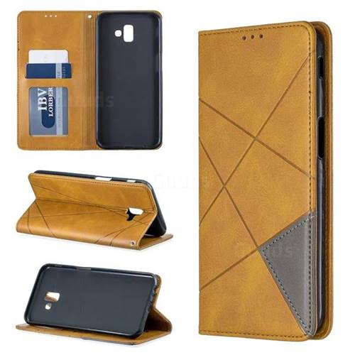 Prismatic Slim Magnetic Sucking Stitching Wallet Flip Cover for Samsung Galaxy J6 Plus / J6 Prime - Yellow
