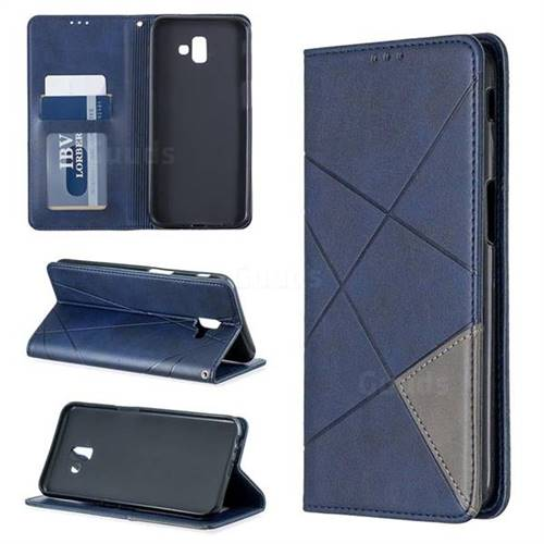 Prismatic Slim Magnetic Sucking Stitching Wallet Flip Cover for Samsung Galaxy J6 Plus / J6 Prime - Blue