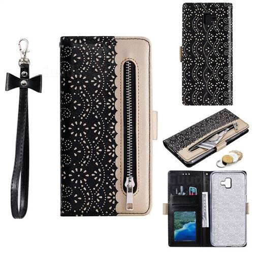 Luxury Lace Zipper Stitching Leather Phone Wallet Case for Samsung Galaxy J6 Plus / J6 Prime - Black