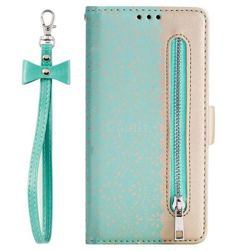best website 8841c 61a84 Luxury Lace Zipper Stitching Leather Phone Wallet Case for Samsung Galaxy  J6 Plus / J6 Prime - Green