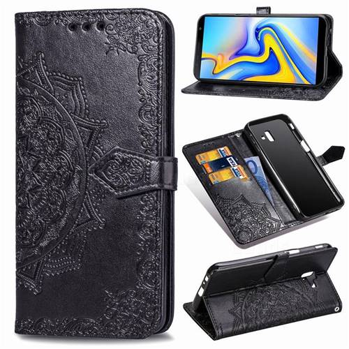 Embossing Imprint Mandala Flower Leather Wallet Case for Samsung Galaxy J6 Plus / J6 Prime - Black