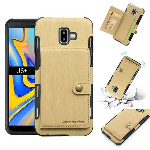 Brush Multi-function Leather Phone Case for Samsung Galaxy J6 Plus / J6 Prime - Golden