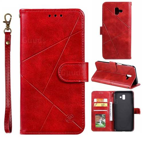 Embossing Geometric Leather Wallet Case for Samsung Galaxy J6 Plus / J6 Prime - Red