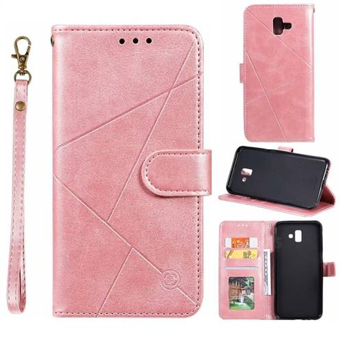 Embossing Geometric Leather Wallet Case for Samsung Galaxy J6 Plus / J6 Prime - Rose Gold