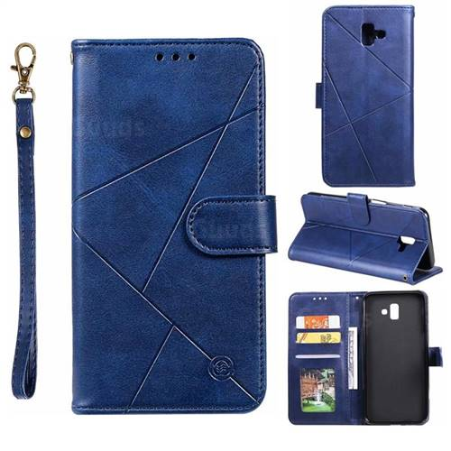 Embossing Geometric Leather Wallet Case for Samsung Galaxy J6 Plus / J6 Prime - Blue