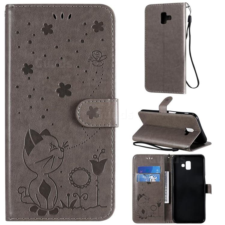 Embossing Bee and Cat Leather Wallet Case for Samsung Galaxy J6 Plus / J6 Prime - Gray