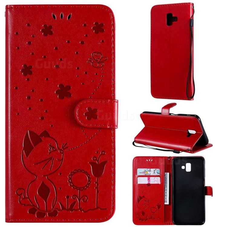 Embossing Bee and Cat Leather Wallet Case for Samsung Galaxy J6 Plus / J6 Prime - Red
