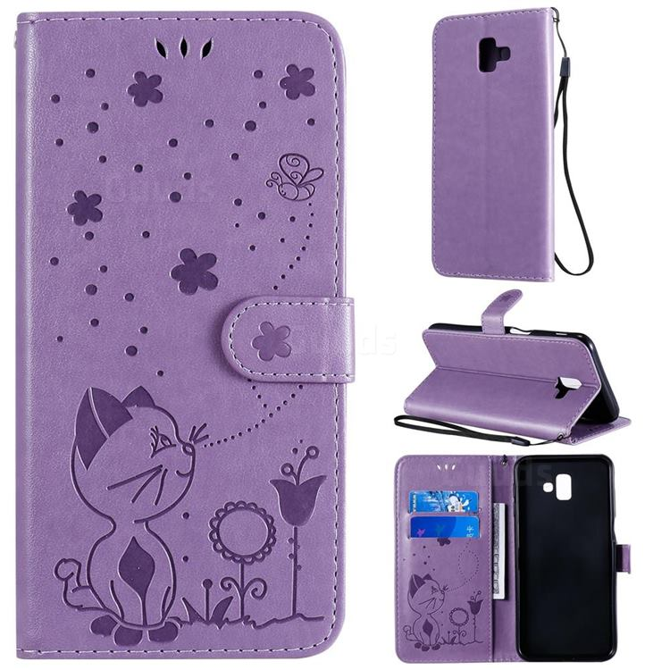 Embossing Bee and Cat Leather Wallet Case for Samsung Galaxy J6 Plus / J6 Prime - Purple