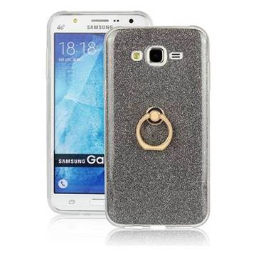 Luxury Soft TPU Glitter Back Ring Cover with 360 Rotate Finger Holder Buckle for Samsung Galaxy J7 2015 J700 - Black