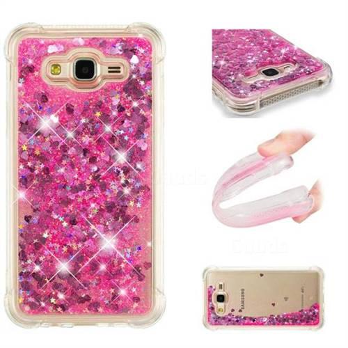 Dynamic Liquid Glitter Sand Quicksand TPU Case for Samsung Galaxy J7 2015 J700 - Pink Love Heart