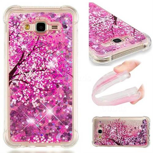 Pink Cherry Blossom Dynamic Liquid Glitter Sand Quicksand Star TPU Case for Samsung Galaxy J7 2015 J700