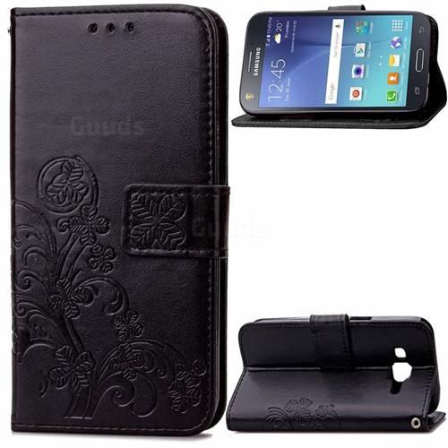 Embossing Imprint Four-Leaf Clover Leather Wallet Case for Samsung Galaxy J7 2015 J700F J700H J700M - Black