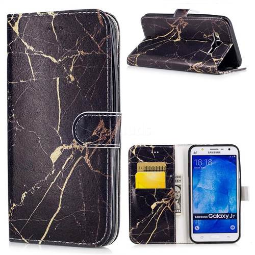 Black Gold Marble PU Leather Wallet Case for Samsung Galaxy J7 2015 J700