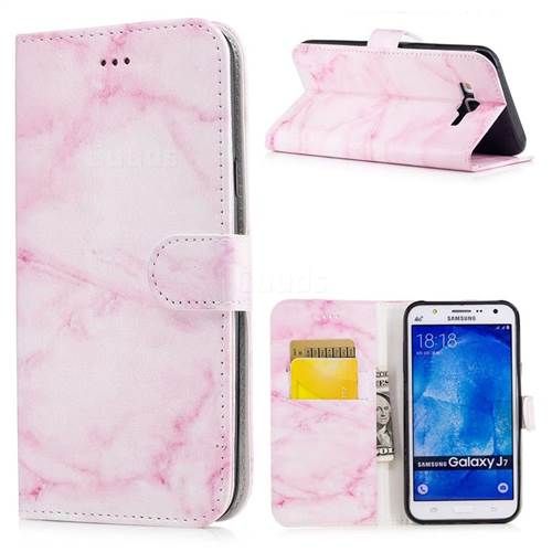 Pink Marble PU Leather Wallet Case for Samsung Galaxy J7 2015 J700