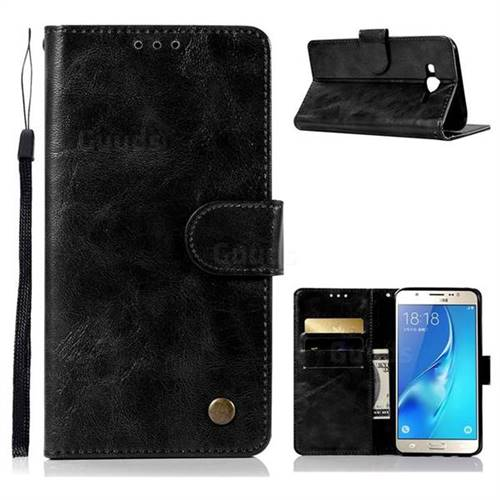 Luxury Retro Leather Wallet Case for Samsung Galaxy J7 2015 J700 - Black