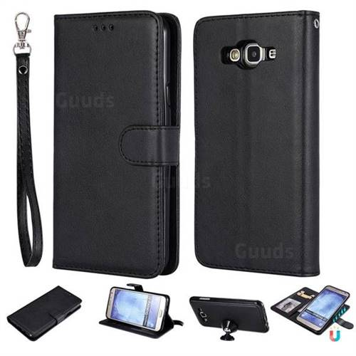 Retro Greek Detachable Magnetic PU Leather Wallet Phone Case for Samsung Galaxy J7 2015 J700 - Black