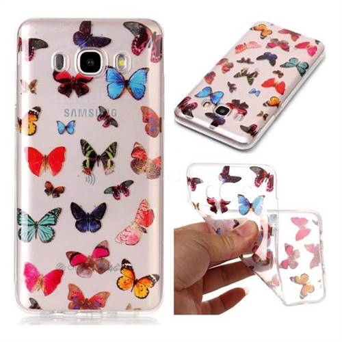 Colorful Butterfly Super Clear Soft TPU Back Cover for Samsung Galaxy J7 2016 J710