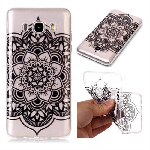 Black Mandala Flower Super Clear Soft TPU Back Cover for Samsung Galaxy J7 2016 J710