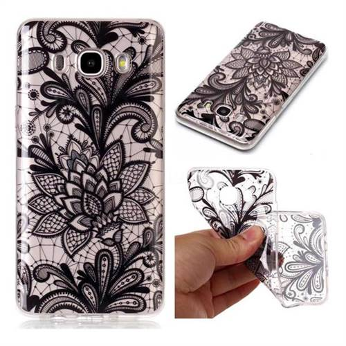Black Rose Super Clear Soft TPU Back Cover for Samsung Galaxy J7 2016 J710
