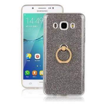 Luxury Soft TPU Glitter Back Ring Cover with 360 Rotate Finger Holder Buckle for Samsung Galaxy J7 2016 J710 - Black