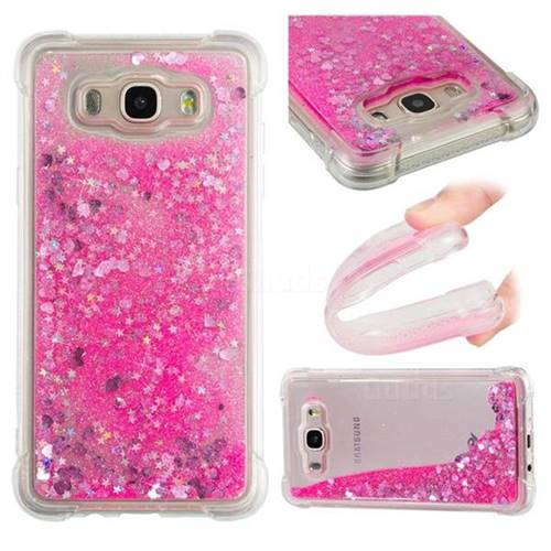 Dynamic Liquid Glitter Sand Quicksand TPU Case for Samsung Galaxy J7 2016 J710 - Pink Love Heart