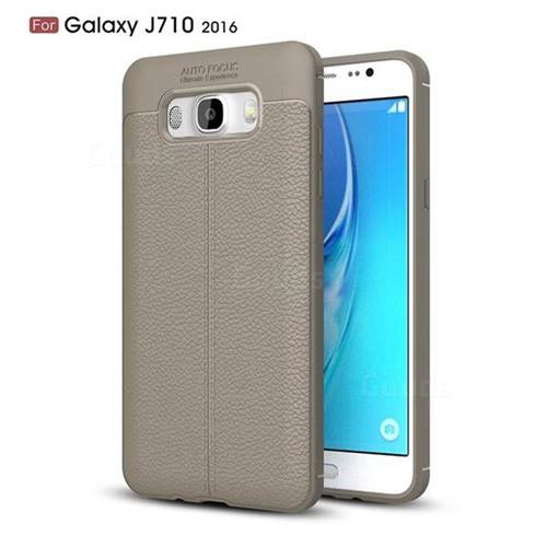 Luxury Auto Focus Litchi Texture Silicone TPU Back Cover for Samsung Galaxy J7 2016 J710 - Gray