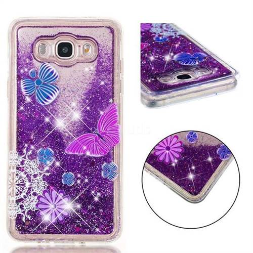 Purple Flower Butterfly Dynamic Liquid Glitter Quicksand Soft TPU Case for Samsung Galaxy J7 2016 J710