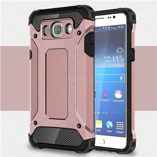 King Kong Armor Premium Shockproof Dual Layer Rugged Hard Cover for Samsung Galaxy J7 2016 J710 - Rose Gold - TPU Case - Guuds