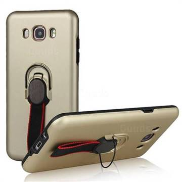 Raytheon Multi-function Ribbon Stand Back Cover for Samsung Galaxy J7 2016 J710 - Golden