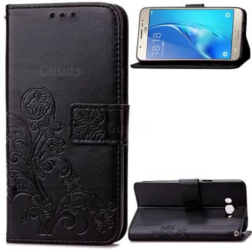Embossing Imprint Four-Leaf Clover Leather Wallet Case for Samsung Galaxy J7 2016 J710 - Black