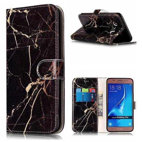 Black Gold Marble PU Leather Wallet Case for Samsung Galaxy J7 2016 J710