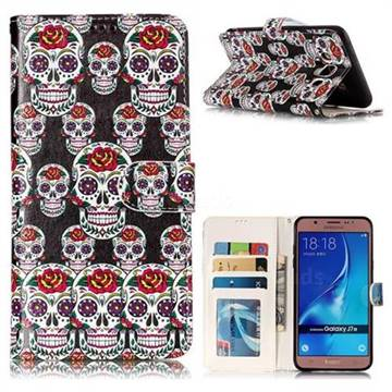 Flower Skull 3D Relief Oil PU Leather Wallet Case for Samsung Galaxy J7 2016 J710