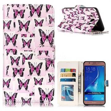 Butterflies Stickers 3D Relief Oil PU Leather Wallet Case for Samsung Galaxy J7 2016 J710