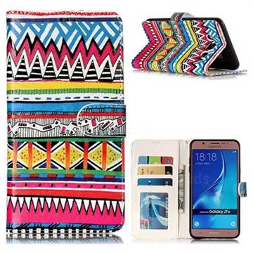 Tribal Pattern 3D Relief Oil PU Leather Wallet Case for Samsung Galaxy J7 2016 J710