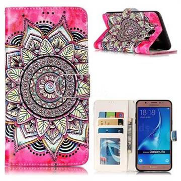 Rose Mandala 3D Relief Oil PU Leather Wallet Case for Samsung Galaxy J7 2016 J710