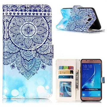 Totem Flower 3D Relief Oil PU Leather Wallet Case for Samsung Galaxy J7 2016 J710