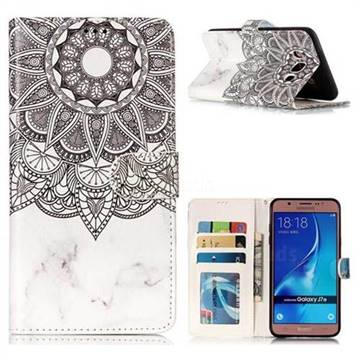 Marble Mandala 3D Relief Oil PU Leather Wallet Case for Samsung Galaxy J7 2016 J710