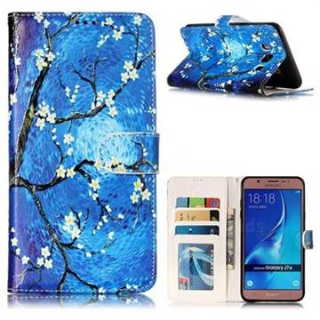 Plum Blossom 3D Relief Oil PU Leather Wallet Case for Samsung Galaxy J7 2016 J710