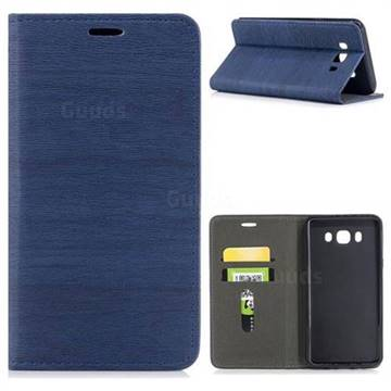Tree Bark Pattern Automatic suction Leather Wallet Case for Samsung Galaxy J7 2016 J710 - Blue