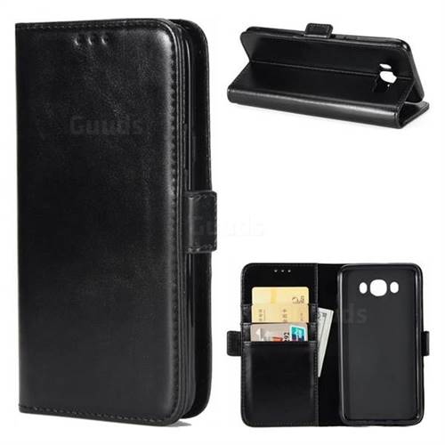Luxury Crazy Horse PU Leather Wallet Case for Samsung Galaxy J7 2016 J710 - Black