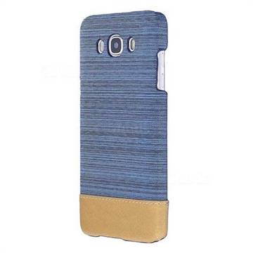 Canvas Cloth Coated Plastic Back Cover for Samsung Galaxy J7 2016 J710 - Light Blue